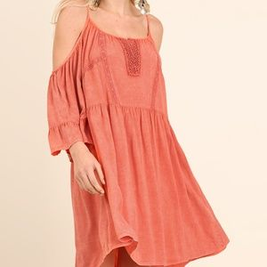 Coral Boho Dress with Bell Sleeves - M